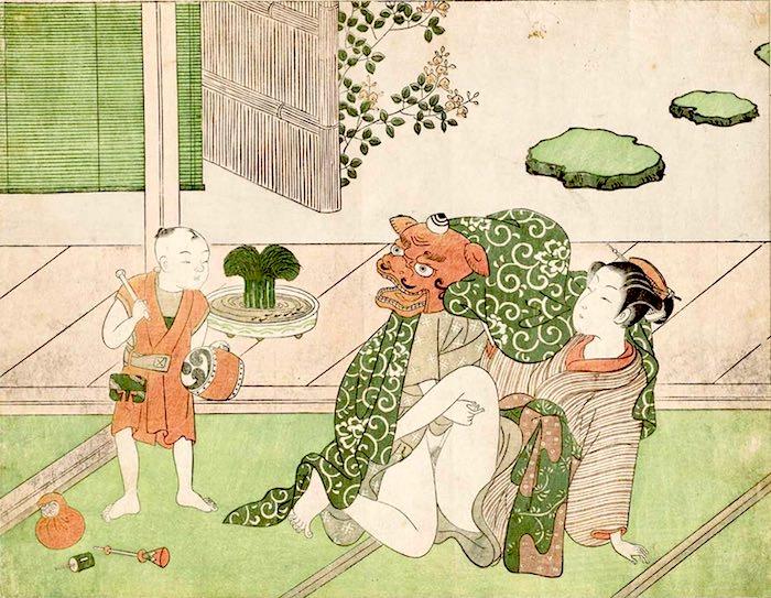 春画 お獅子に化け子どもを追い払おうとする大人(『神楽の獅子の情交』 鈴木春信 画)