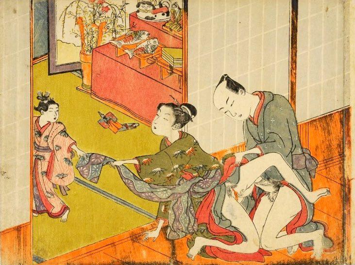 春画 ひな祭りに性行為に励む大人(磯田湖龍斎 画)の拡大画像