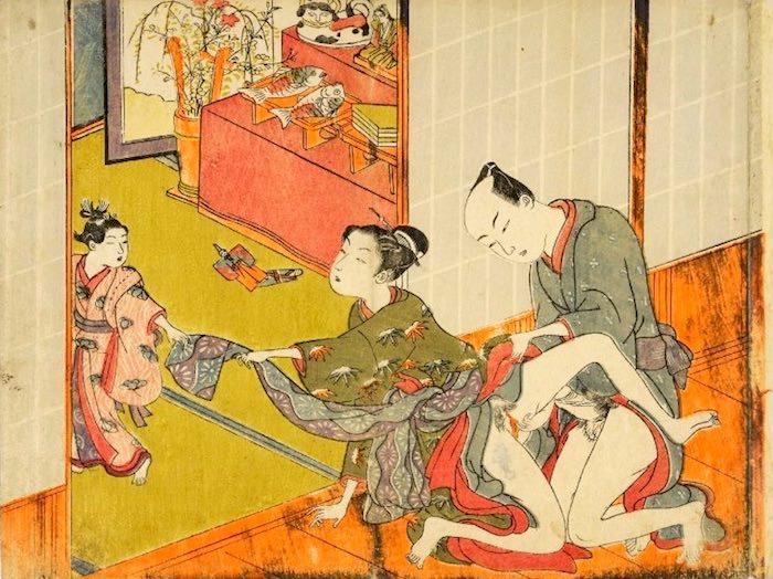 春画 ひな祭りに性行為に励む大人(磯田湖龍斎 画)