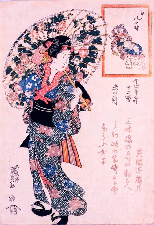 朝顔をデザインした江戸時代の日傘(『今世斗計十二時 未の刻』三代歌川豊国 画)