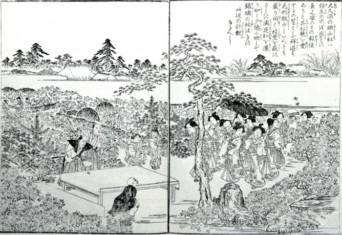 ツツジが咲きほこる壮麗な眺めにセレブの女性たちもうっとり(『江戸名所図会』「大久保」)