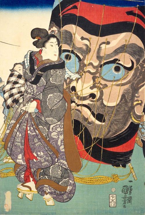 江戸時代、凧揚げは大ブームになった(『五節句之内睦月』部分 歌川国芳 画)