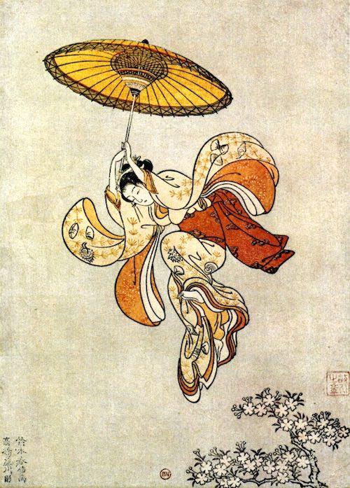 願掛けのため京の清水の舞台から飛び降りる女性(鈴木春信 画)