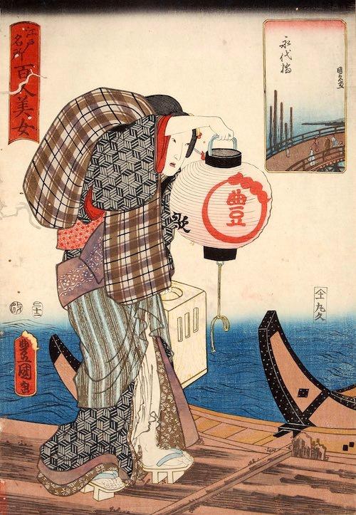 船宿の女将が猪牙舟を見送るところ(深川江戸資料館 再現)