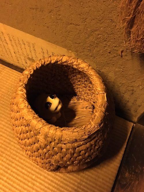 藁で編まれたカゴに猫が入っている(深川江戸資料館 再現)