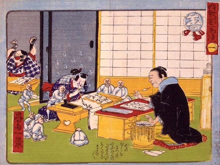 女の子が寺子屋で熱心にお習字の練習。それを見つめる善玉たち(『娘教訓二面鏡』より)