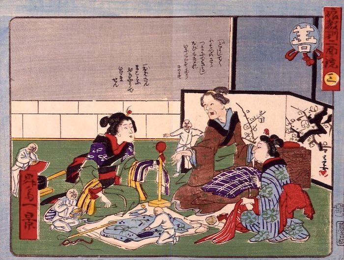 女の子たちがお裁縫の練習中。周りには善玉たち(『娘教訓二面鏡』より)