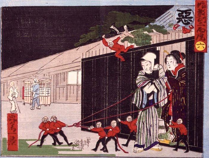 いかにもダメそうな男と駆け落ちする女性。悪玉が赤い糸を引く(『娘教訓二面鏡』より)