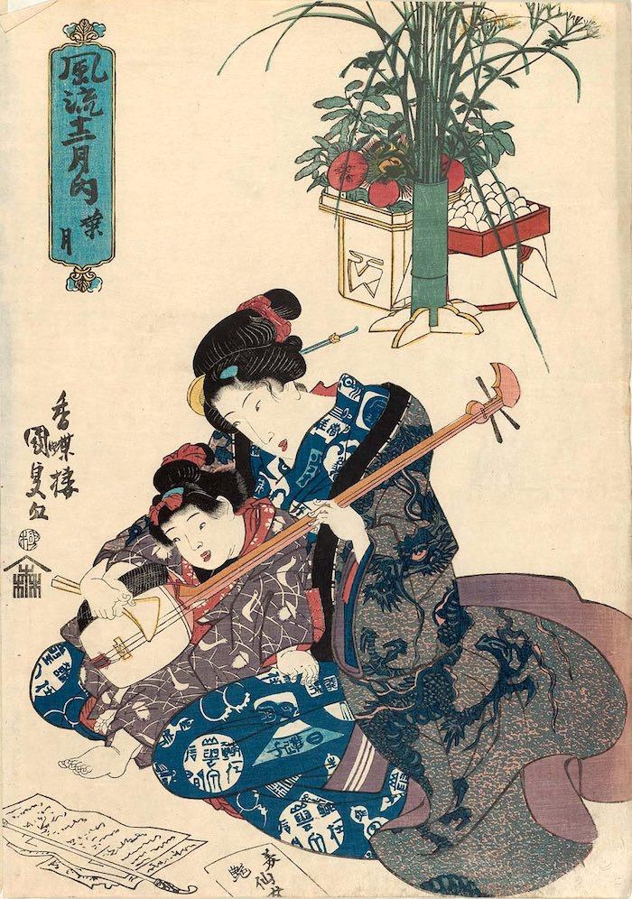 女の子が三味線のお稽古中(『風流十二月之内葉月』歌川国貞 画)の拡大画像