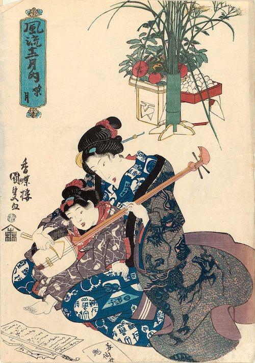 女の子が三味線のお稽古中(『風流十二月之内葉月』歌川国貞 画)
