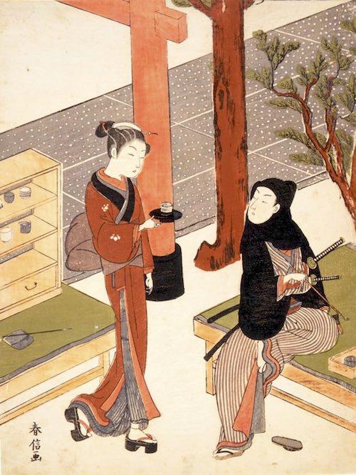 水茶屋で働く仕事中の笠森お仙(鈴木春信 画)