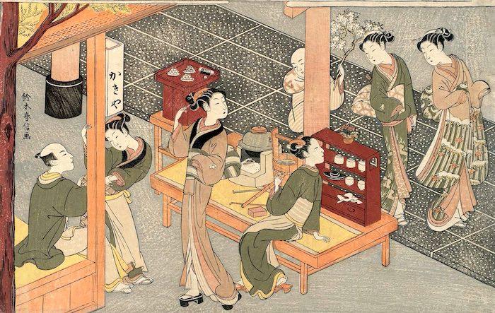 江戸時代を代表するアイドル・笠森お仙(画像中央、鈴木春信 画)