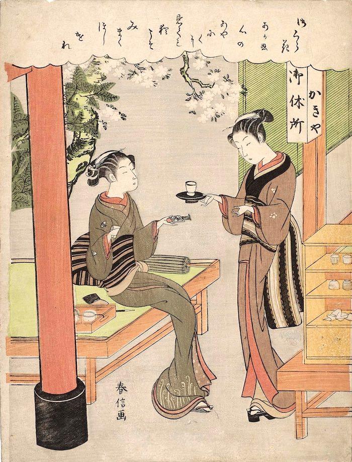 明和三美人のうちの二人、柳屋のお藤と笠森お仙(拡大画像)