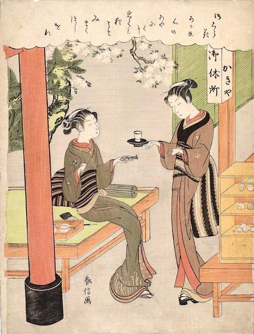 明和三美人のうちの二人、柳屋のお藤と笠森お仙(鈴木春信 画)