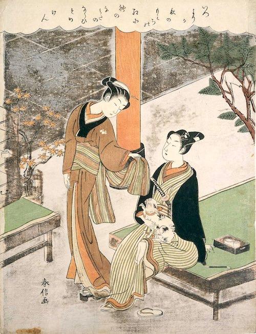 猫と戯れる笠森お仙(鈴木春信 画)