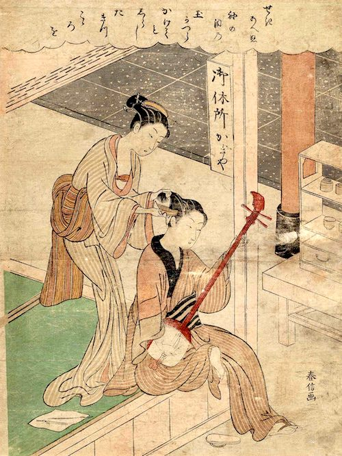 三味線を持つ男性の髪をとく笠森お仙(鈴木春信 画)