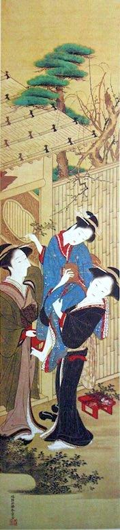 江戸時代の節分(『婦女風俗十二月』「節分」勝川春章 画)