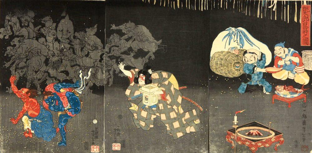 豆まきをする桃太郎(『桃太郎豆蒔之図』月岡芳年 画)の拡大画像