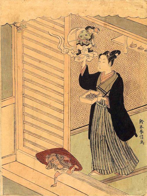 江戸時代の節分(『節分』鈴木春信 画)