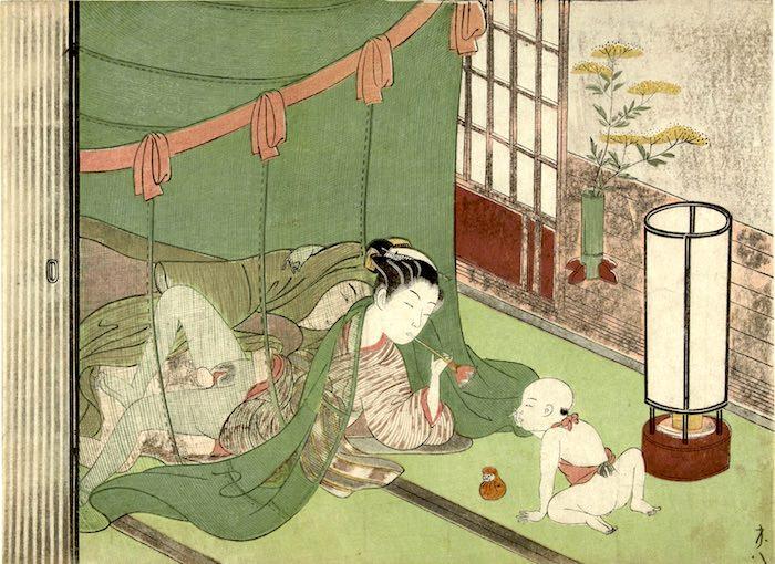 子どもをあやしながら性交をする女性(鈴木春信 画)