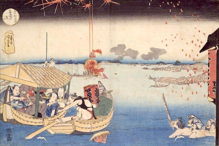 両国の花火を船上で楽しむ人々(『東都名所 両国の涼』歌川国芳 画)