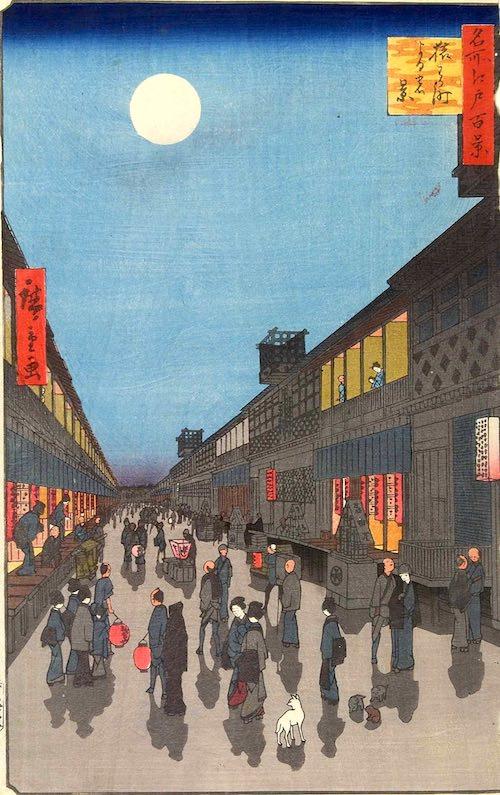 江戸時代の猿若町(『名所江戸百景』「猿わか町よるの景」歌川広重 画)