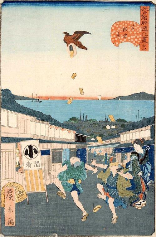 トンビに油揚げをさらわれた2人組江戸時代の看板も見える(『江戸名所道戯尽』「芝飯倉通」歌川広景 画)