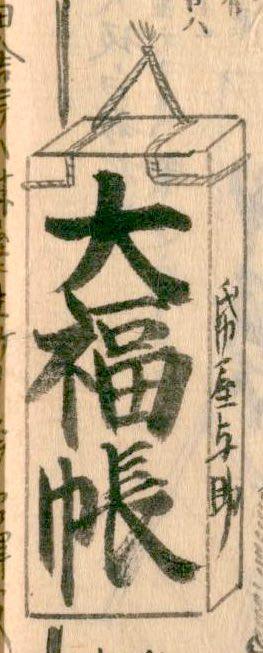 江戸時代の帳面問屋の看板(『熈代勝覧』部分)