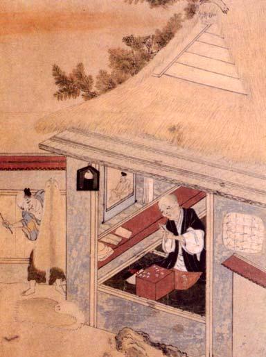 安土桃山時代の京の筆師(『職人尽絵』より)