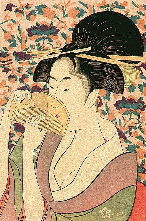 『櫛を持つ女』(喜多川歌麿 画)
