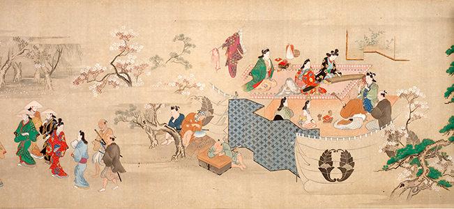 元禄時代の華やかさが漂う『江戸風俗絵巻』(部分)(菱川師宣 画)