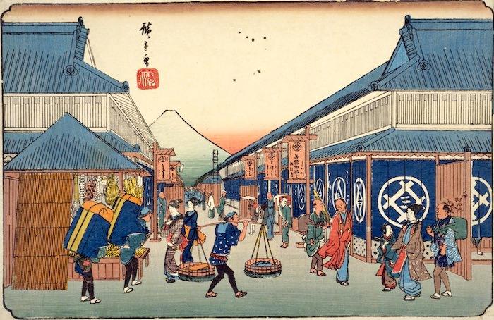 三井越後屋の建看板(『東都名所 駿河町之図』 歌川広重 画)