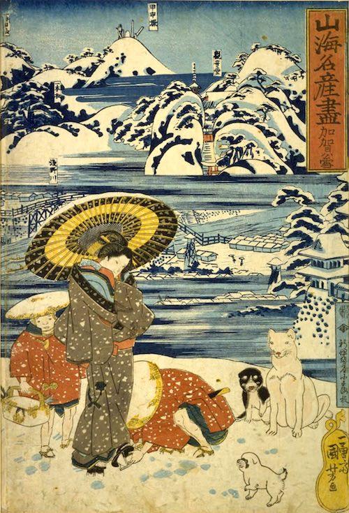 半合羽を着るお供の小僧さん(『山海名産尽 加賀ノ雪』歌川国芳 画)