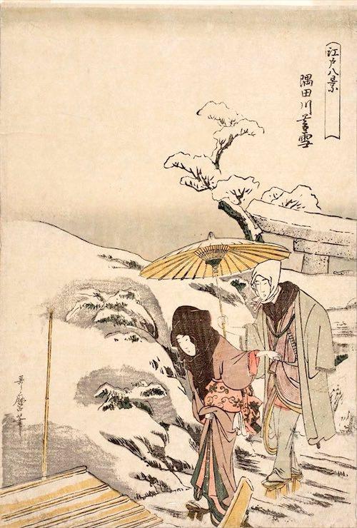 船に乗り込む女性。男性は手ぬぐいをかぶっている(『江戸八景』「隅田川暮雪」喜多川歌麿 画)
