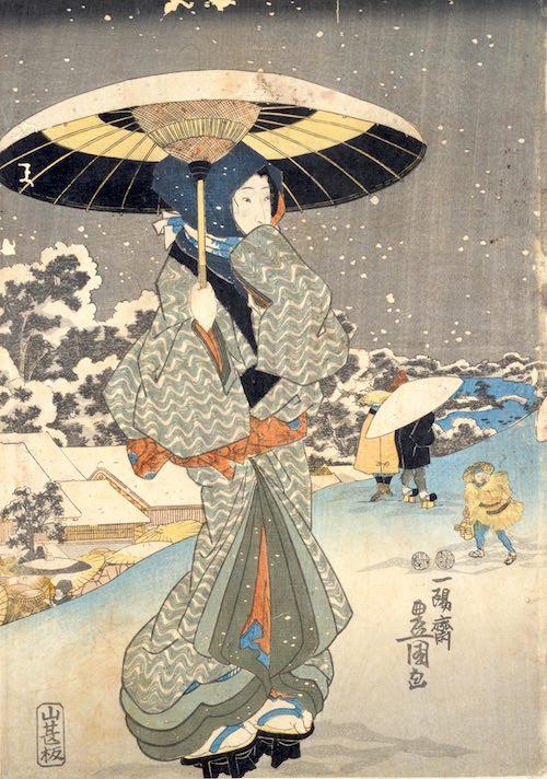 御高祖頭巾をかぶる江戸時代の女性(『うゑ野の暮雪』歌川豊国 画)