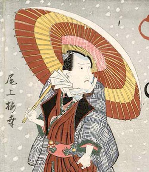 防寒のため手ぬぐいを首に巻く江戸時代の男性(『隅田川雪の情景』歌川国貞 画)