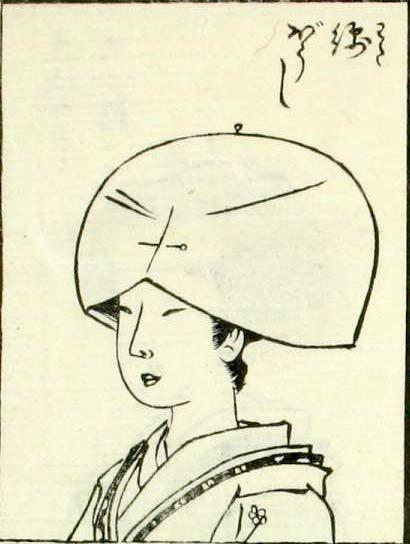 江戸時代の綿帽子(『都風俗化粧伝』より)