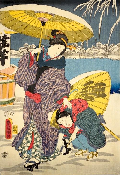 江戸時代、雪の日の履物「足駄」を履く女性(『十二月の内 小春初雪』歌川豊国 画)