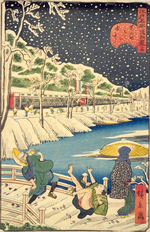 『十二月の内 小春初雪』(歌川豊国 画)