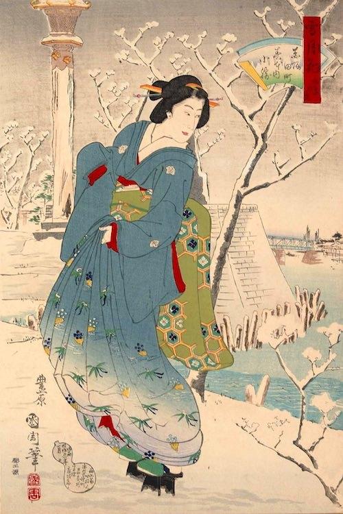 褄皮という雪の日や雨の日専用の履物を履く江戸時代の女性(『雪月花向島の景 赤坂田町春本内小緑』豊原国周 画)
