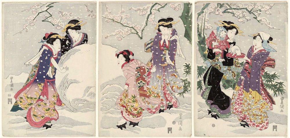 積もった雪で遊ぶ江戸時代の美女たち(歌川豊国 画)の拡大画像