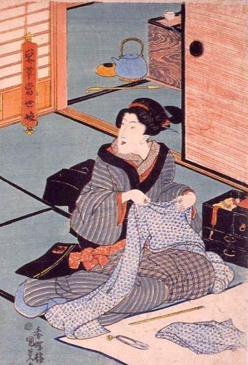 裁縫をする江戸時代の女性(『栄草当世娘』部分 歌川国貞 画)