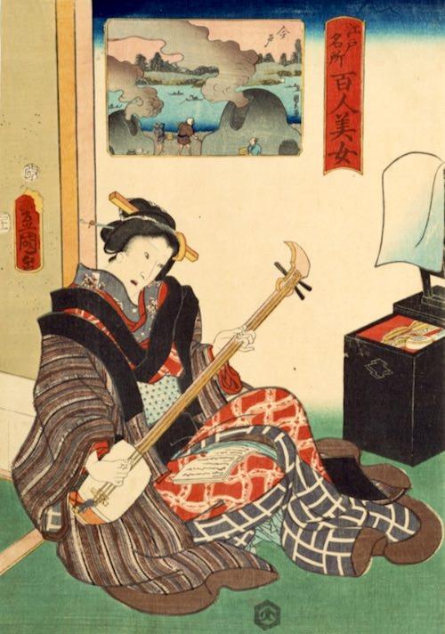 三味線を爪弾く江戸時代の女性(『江戸名所百人美女』「今戸」歌川豊国 画)