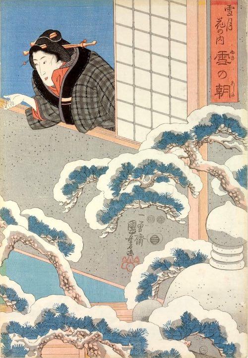 雪の朝、どてらを羽織る江戸時代の女性(『雪月花の内』「雪の朝」部分 歌川国芳 画)