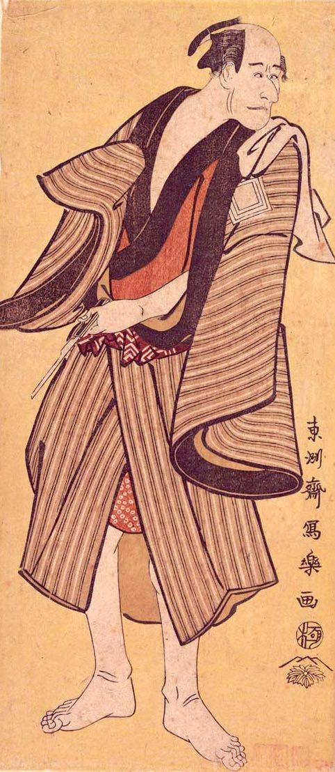 どてらを着る江戸時代の役者(『市川鰕藏のらんみやくの吉』写楽 画)
