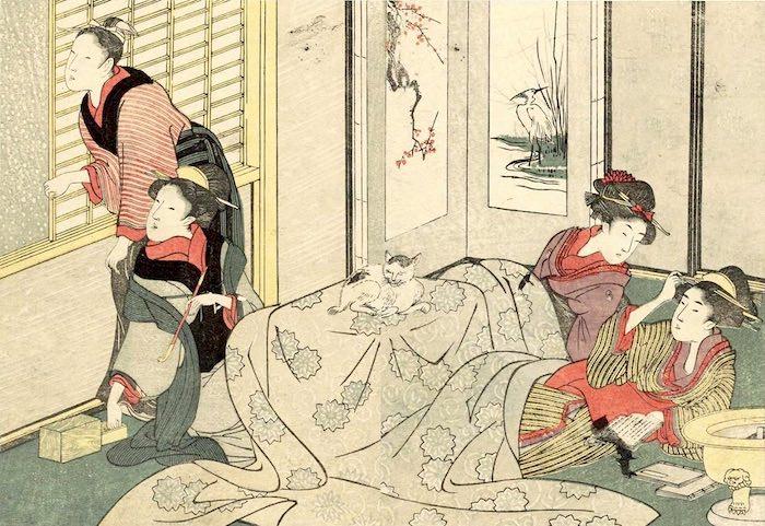 コタツの周りに集まる江戸時代の女性たち(『絵本四季花 下』喜多川歌麿 画)
