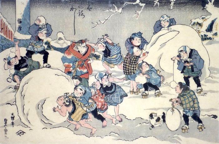 積もった雪で遊ぶ江戸時代の子どもたち(歌川国輝 画)