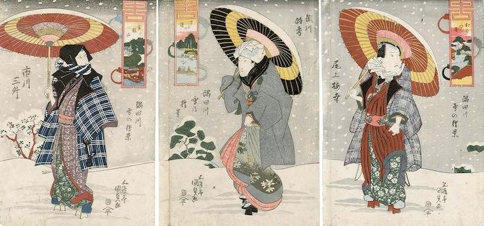 尾上梅幸、瀬川路考、市川三舛といった人気役者の冬の服装(『隅田川雪の情景』歌川国貞 画)