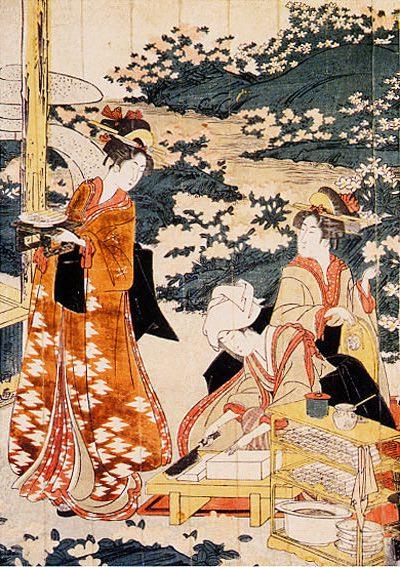 江戸時代の人気料理『豆腐田楽』を作る女性(『豆腐田楽を作る美人』部分 歌川豊国 画)
