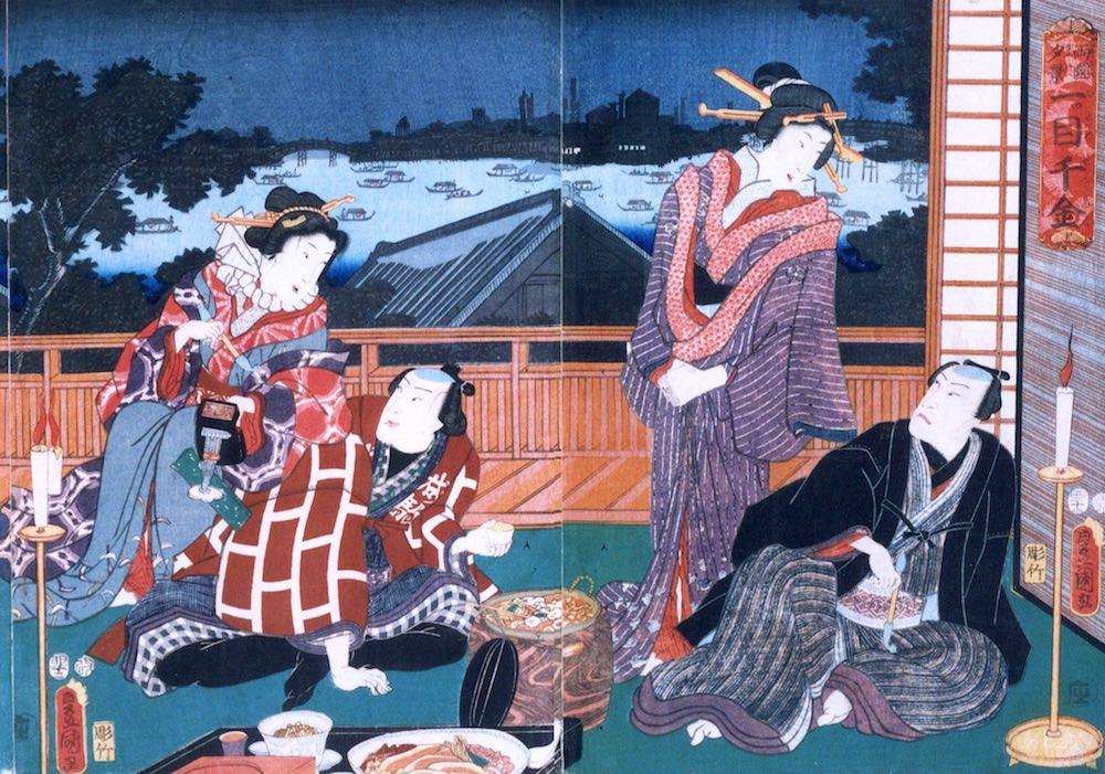 鍋料理を囲み美女を侍らしての夕食(『両国夕景一ツ目千金』三代歌川豊国 画)の拡大画像